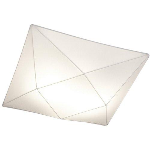 Olé by Fm Iluminación - Lámpara de techo plafón Polaris 100x100 con estructura metálica y tela elástica, color Blanco