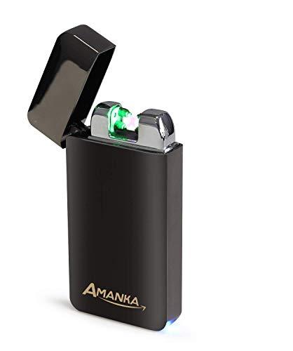 AMANKA Mechero Eléctrico Encendedor de Doble Arco Mechero USB Eléctrico sin Llama Mechero Recargable y Resistente al Viento (Acampada) con Cable