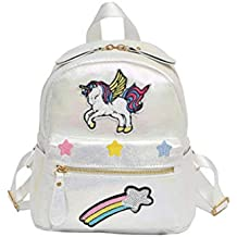 JIAHE Mujeres Unicornio Mochila Linda Mochila Escolar Niños Pequeños Dibujos Animados Bordado Arco Iris Anime Softback