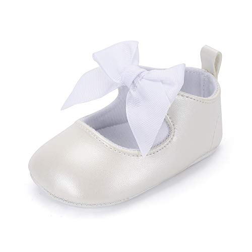 en Rutschfest Weiche Leder Bowknot Taufschuhe Kleinkind Sneaker Weiß 3-6 Monate ()