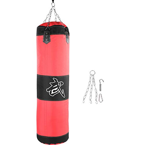 Punch sandbag, durable boxing heavy bag canvas punch bag funzionale per allenamento fitness e sport(100cm-rosso)