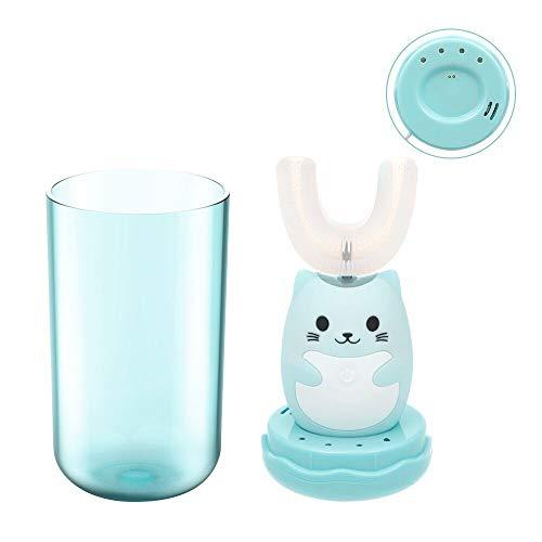 Kinder U-Typ elektrische Zahnbürste mit 350ML Becher, 360 ° Auto-Zahnbürste, 45S Timer sanfte Reinigung, Induktionsaufladung, speziell für 3-6 altes Von Anself(blau)