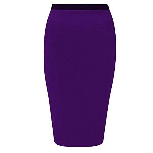 Womens Plain Office Work Pencil Ladies Stretch Bodycon Mini Midi Skirt Size 8-26 Violet