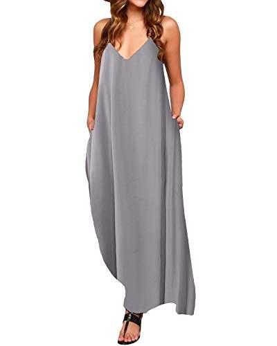 ACHIOOWA Femme Robe de Plage Longue Maxi Robe Femme Bohème Grande Taille Été sans Manche Chic Col V pour Vacance Gris L