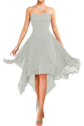 Victory bridal abendkleider court tendance nouer en chiffon sommerkleider tanzkleider brautjungfernkleider Silber-traeger