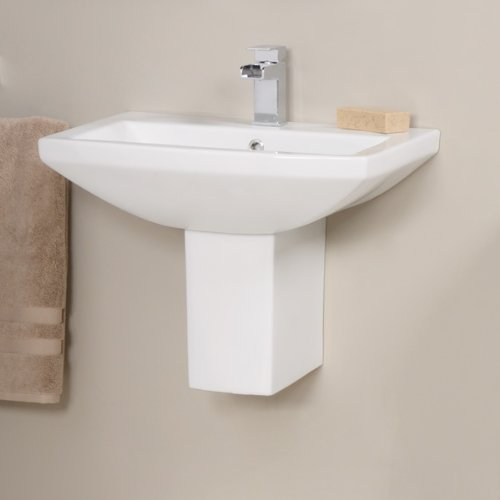 Better Bathrooms ® Modern Bathroom Hand Wash Basin - Semi, Half Pedestal, 1 Tap Hole, Cloakroom, Wall Mounted, Hung Ceramic Square Designer Sink. Dimensions - Width: 560mm, Projection: 440mm, Height: 450mm. Weight - Bas