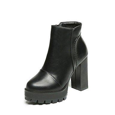RTRY Donna Tacchi Scarpe Formali Pu Caduta Abbigliamento Casual Zipper Chunky Heel Nere 3A-3 3/4In Nero Us8 / Eu39 / Uk6 / Cn39 US6.5-7 / EU37 / UK4.5-5 / CN37