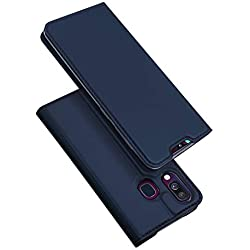 DUX DUCIS Cover Samsung Galaxy A40, Flip Caso Pelle PU con [Funzione Stand] [Slot Cart] [Chiusura Magnetica] Bumper Casein Custodia per Samsung Galaxy A40 (Blu)