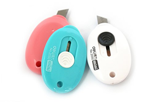 Die Junge® Ei Form Mini Cutter, Universalmesser, Safety Box, Paket Brieföffner, 70x 40mm (6,1x 3,8cm), verschiedene Farben, 3Stück - blue*1,pink*1,white*1