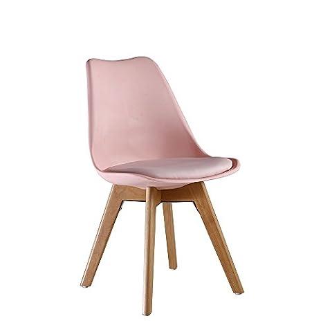 P&N Homewares® Lorenzo Tulip Chair Plastic Wood Retro Dining Chairs White Black Grey Red Yellow Pink Green Blue (PINK)