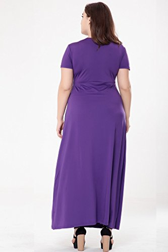 YiJee Damen Übergröße Fest Color Kleid Kurzarm V Ausschnitt Sommerkleid Hohe Taille Ball Kleider Lila