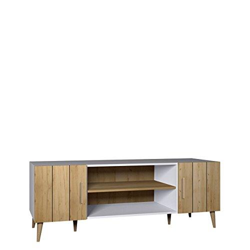 Bello Tv-tisch (TV Tisch Bello B10, TV Schrank im skandinavischen Stil, Fernsehtisch, Lowboard, Fernsehschrank, TV Bank, TV Möbel (Weiß / Gold Craft))