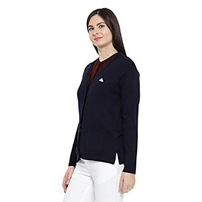 Monte Carlo Navy Solid Pure Wool V Neck Cardigan
