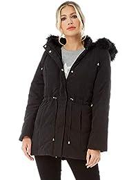 f3c8c966b Roman Originals Women's Microfibre Padded Parka Coat - Ladies Autumn Winter  Warm Casual Everyday Faux Fur