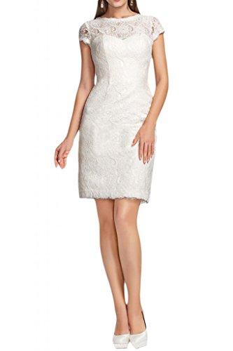 Gorgeous Bride Modesto guaina in pizzo abito da sposa Party breve Retro aperto Ivory 24 W