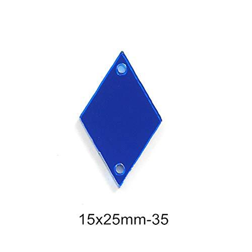 PENVEAT 50pcs Spiegel Blau Strass Näh-Acryl Unregelmäßige Spiegel Sapphire Näh-Strass Strass für Schuhe Bekleidung B3560, P35-15x25mm -