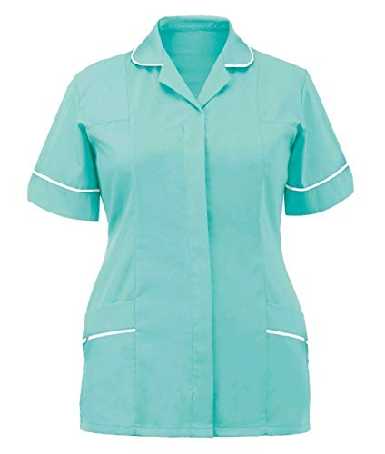 Islander Fashions Damen Gesundheitswesen Rei�Verschluss Ergattertes Krankenschwester TunikaOberfrauenklinik Uniform Minze/Wei� EU 48 - Minze Kleid Frauen Shirt