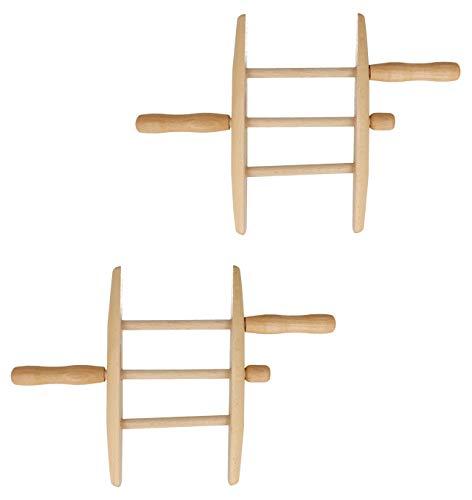 Lantelme 2 Stück Wäscheseil Wickler Set Holz Drachenschnur Holzwickler Leinenwickler 4797