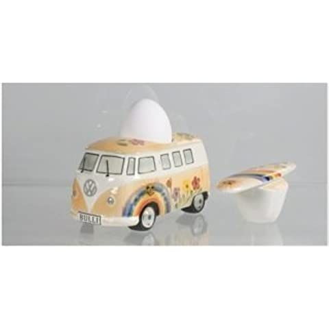 Huevera/Molinillo de sal Furgoneta VW T1 - cerámica, naranja hippie