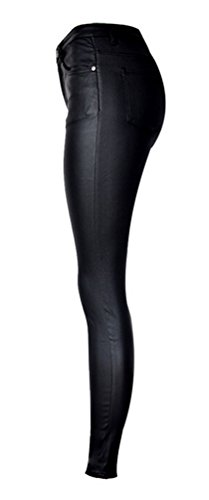 Ghope pantalon simili cuir effet matelassé sexy hipsters Skinny Slim Femme Noir