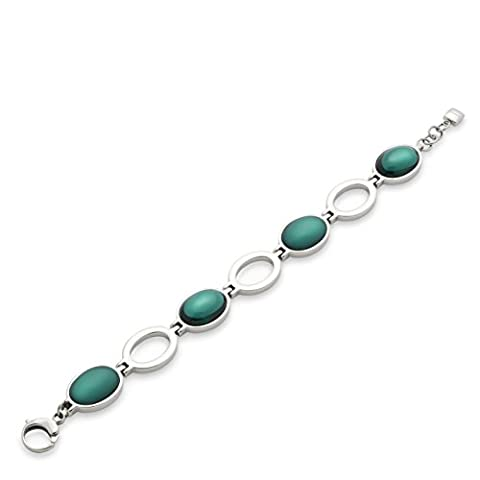 Leonardo Damen-Armband Caramello petrol Edelstahl Glas grün 19.0 cm - 015328