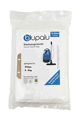 blupalu I Staubsaugerbeutel für Staubsauger Philips S - Bag I 10 Stück I mit Feinstaubfilter