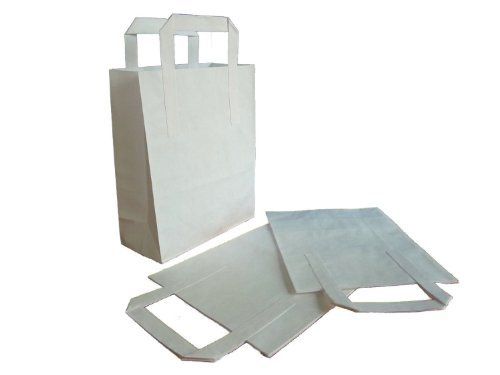 Thali Outlet - 250 x White Medium SOS Kraft Paper Bags - Tape Handle Carrier For Indian Chinese Takeaway by Thali Outlet Leeds