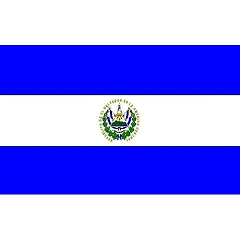 Bandiera di EL SALVADOR 0,9x 0,6m medio-100% poliestere-Occhielli in Metallo-doppie