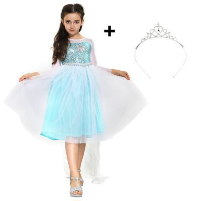Eisprinzessin Königin Elsa Mädchen Ball Festkleid, Kinder-Kostüm mit Umhang – Disney-inspiriert mit Glitzer, Kapuze, Stickerei – Verkleidung zu Karneval, (Kostüm Elsa Königin)