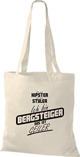 Shirtstown Stoffbeutel du bist hipster du bist styler ich bin Bergsteiger das ist geiler natur