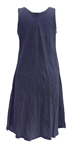 Vestito a tunica senza maniche, da donna, in stile Lagenlook italiano, con peculiare motivo a strati e decorazione a nervature, in lino, munito di tasche, misure S, M, L e XL blu navy