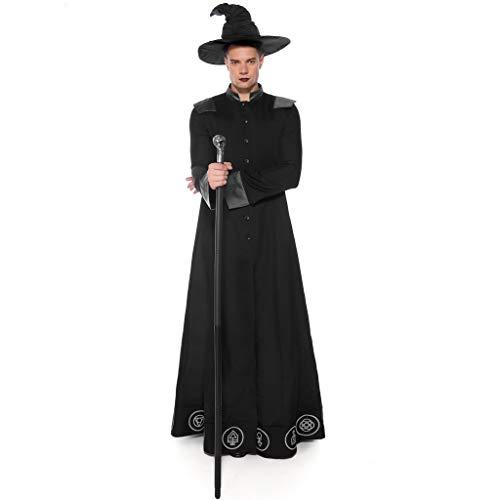 Lomelomme Halloween Herren Halloween Cosplay Männlicher Zauberer Mittelalterlichen Langarm Mäntel und Hut Kostüm - Mittelalterliche Herr Junge Kostüm