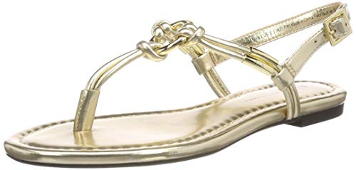 Armani Exchange Damen Flat Sandal with Knot Zehentrenner, Gold 00194, 38 EU