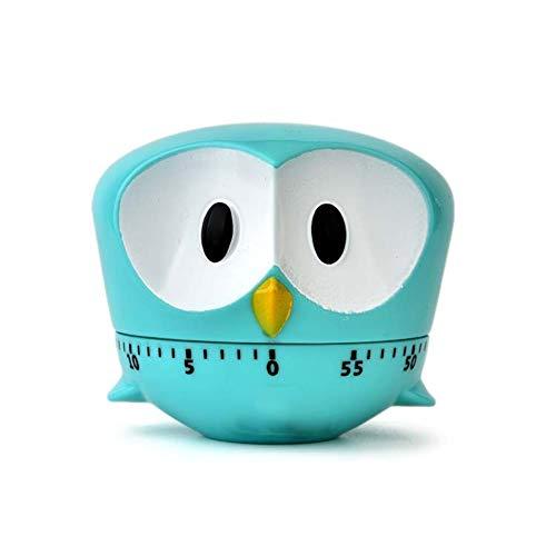 Xiton 1 StüCk Niedlichen Cartoon Owl Timer Mini 60 Minuten Mechanische KüChe Kochen Timer Uhr Laut Alarm ZäHler Manuelle KüChe Timer (Blau) -