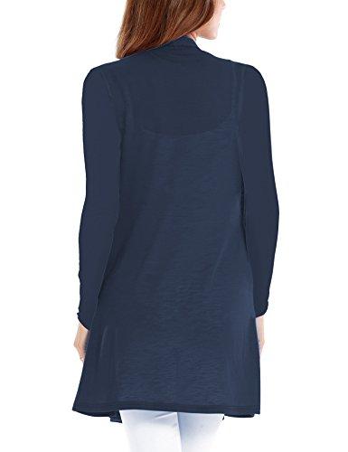 Vessos Femme Gilet Macnhes Longues Cardigan Ouverte Long Casual Avec Poche 36-54 BleuMarine