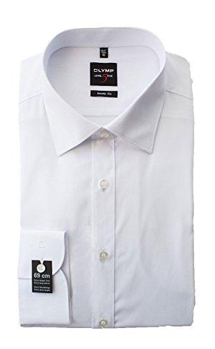 Olymp Hemd Level 5 Five, Weiß, Body Fit, Extra Langer Arm 69cm, Bügelleicht, Comfort Stretch, New York Kent (41)