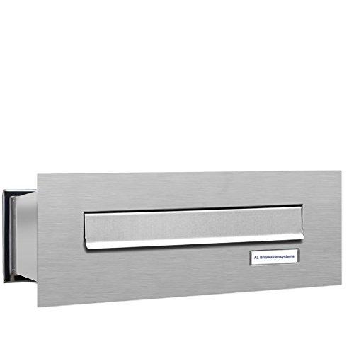1er Durchwurfbriefkasten, 1 Fach Briefkasten DIN A4, wetterfeste Briefkastenanlage aus V2A Edelstahl