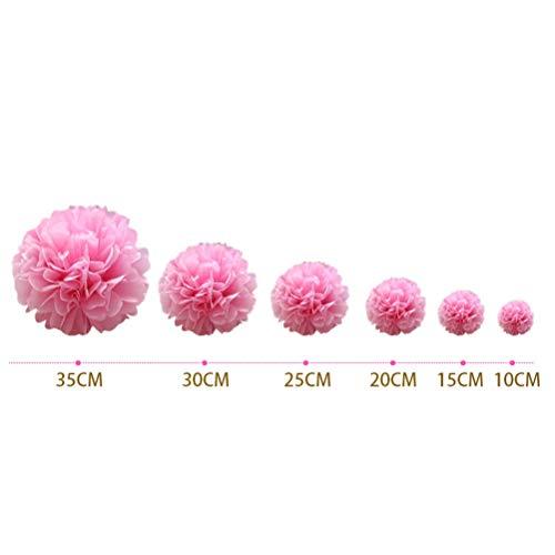 webe Hängen Papier Pompons Blume Ball Hochzeit Outdoor Dekoration Premium Seidenpapier Pom Pom Blumen Handwerk Kit (Weiß + Rosy + Hellrosa) ()