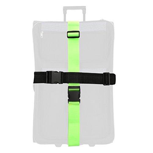 kwmobile 2X Koffergurt Set Kofferband - Koffer Gurt lang - Gepäckgurt Spanngurt auffällig - Koffergürtel farbig verstellbar - Neon Grün Schwarz