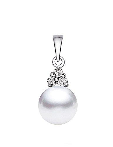 14K Or Blanc Perle de culture d'eau douce blanc de qualité AAA diamant pendentif