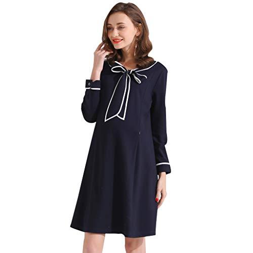Abendröcke Umstandskleidung Umstandsmode Business Kleid Elegante Fliege Rock Stillen Kleidung Weich Und Gemütlich Schwangere Frauen Geschenk Freizeit (Color : Dark Blue, Size : M)