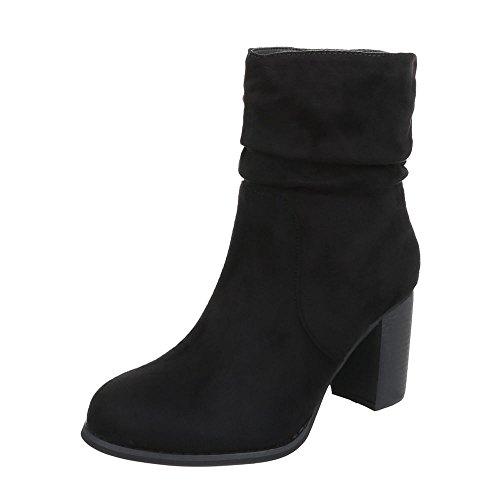 Ital-Design High Heel Stiefeletten Damen-Schuhe Schlupfstiefel Pump Moderne Reißverschluss Stiefeletten Schwarz, Gr 38, Zy9086-