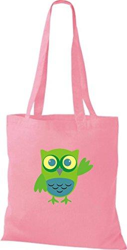 streifen Retro Eule niedliche mit Jute Owl Stoffbeutel Tragetasche ShirtInStyle rosa Bunte Karos Punkte Farbe diverse zwItPYxq