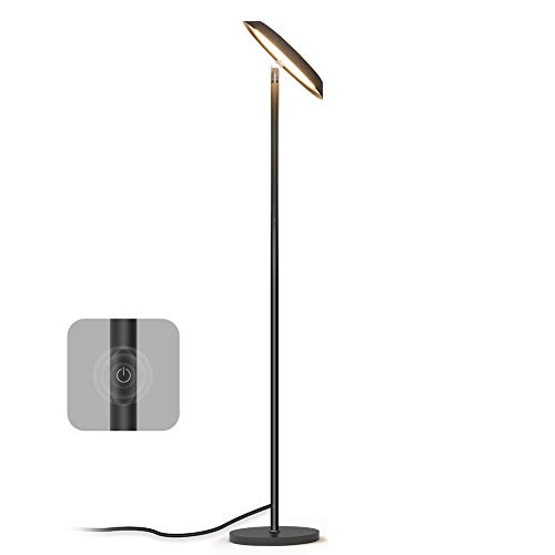 Stehlampe TECKIN LED Stehleuchte Moderne Dimmbare Standleuchte Touch-Schalter Stufenloses Dimmen 3000K Warmes wei es Licht Kann fur Arbeit, Lesen, Lernen Verwendet 20W Schwarz