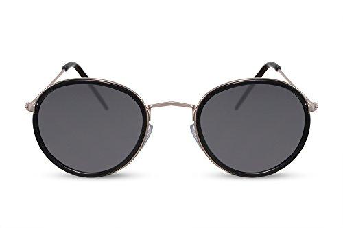 Cheapass Sonnenbrille Rund Schwarz Grau UV-400 Designer-Brille Hipster Nerd Metall Damen Herren