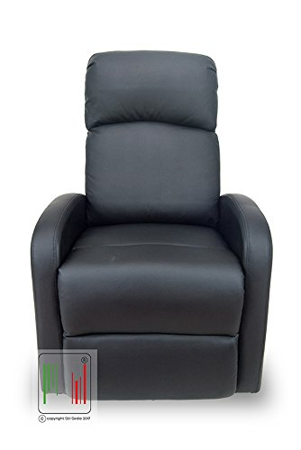 Stil Sedie - Poltrona reclinabile Recliner con Tre Livelli di Posizione Poltrona Relax, Poltrona TV, Poltrona Letto Colore Nero