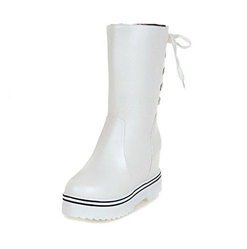 VogueZone009 Damen Rein Ziehen auf PU Leder Hoch-Spitze Hoher Absatz Stiefel, Weiß, 39