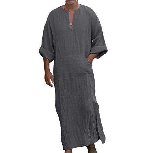Herren Ethnische Roben Lange Ärmel Einfarbig Kaftan Lösen Fit Beiläufiges Tunic Große Größen Lange Shirt mit Taschen Sommer Baumwolle Leinen Robes -