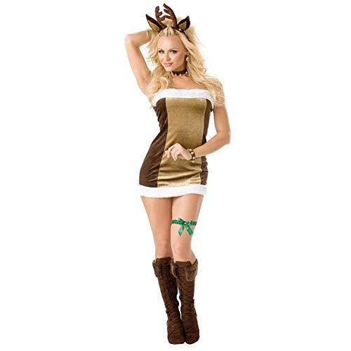 KAIDILA 2018 Weihnachten Kleid Bandeau Sexy Weihnachts-Outfit Elch Weihnachten Dessous Uniform ()