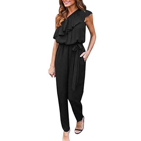 1pc femmes combinaison + 1pc ceintures , Transer ® Les femmes occasionnelles volants pleins de robe de cocktail de partie de mousseline (M, Noir)